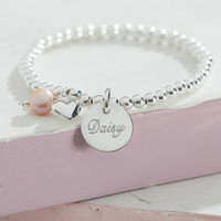 Wholesale Personalised Sterling Silver Charm Ball Engravable ID Bracelets