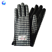 Ladies Black Dogtooth Genuine 100% Harris Tweed & Leather Gloves