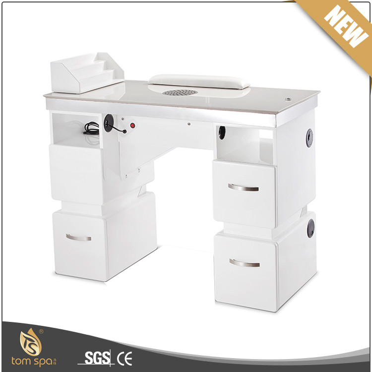 Ts-7309 White Nail Salon Glass Top Manicure Table With Exhaust Fan ...