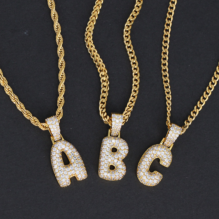 Custom Fashion Iced Out Hip Hop Jewelry Gold Plated Chain Diamond Alphabet CZ English Bubble Letter Pendant Necklace