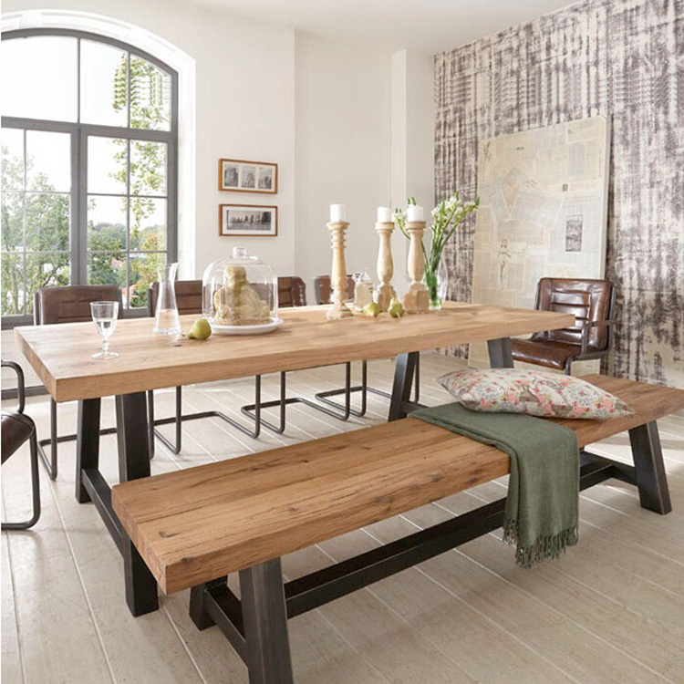 Country Dining Table With Bench: American Country Wood Dining Tables And Chairs Combination