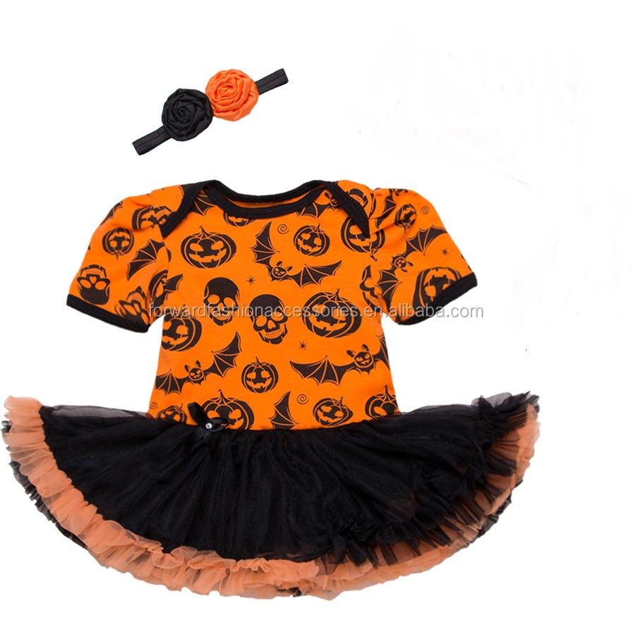Newborn Baby 0-24M Clothes Set Halloween Pumpkin Ghost Rompers With Tutu Pettiskirt