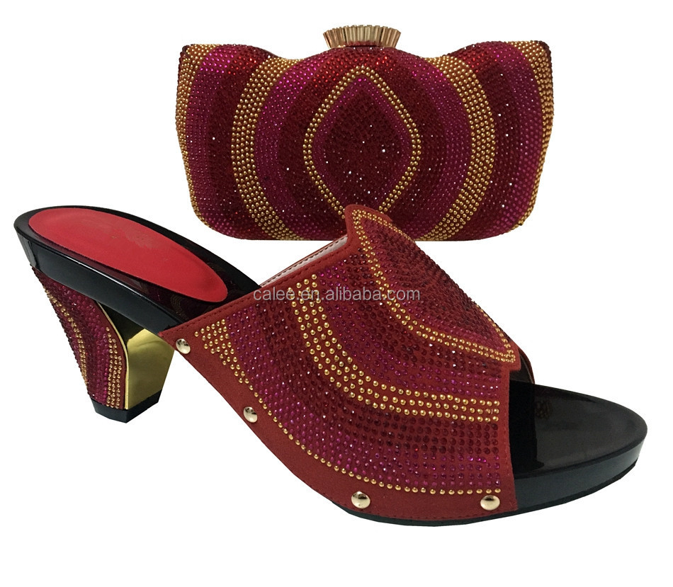 Gold Shoes Arrival Big New Fashion Quality Heel High Nice Party Bag Set For And r50rq4axwn