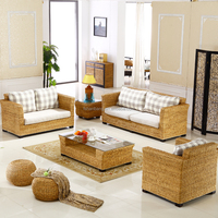 Indoor Sunroom Natural Rattan Seagrass Wicker Conservatory Furniture European Living Room Sets