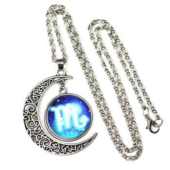 Wholesale Fashion Bijou Accessories Women Fancy Glass Moon Gemstone Zodiac Necklace