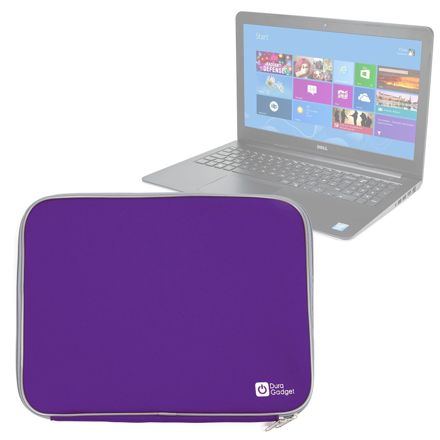 "DURAGADGET Shock Proof & Water Resistant Purple Neoprene Laptop Case For Dell Inspiron 15 7000 Series, Toshiba Satellite P50-AST2NX1, PC Specialist 15.6"" UltraNote & PC Specialist 15.6"" Genesis IV"