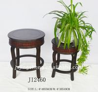 Dark brown hard wood and rattan flower holder flower shelf