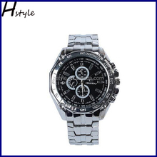 Fashion Stainless Steel Band Chronograph Men Sport Business Quartz Watches Black WP017