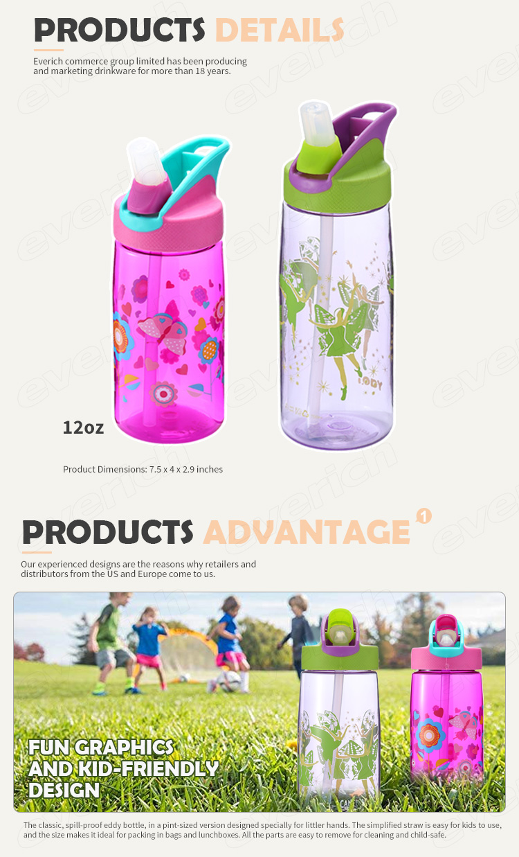 Customized Kids Straw Water Bottle BPA Free