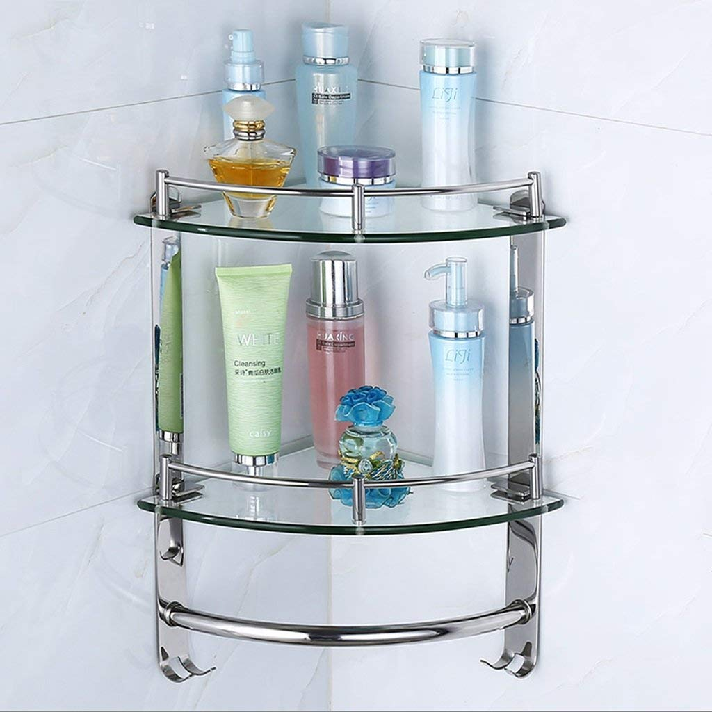 Bathroom Racks, second floor Wall Angle Shelves, 304 Stainless Steel + Glass Triangle Rack, Bathroom Storage H38cmW23.5cm