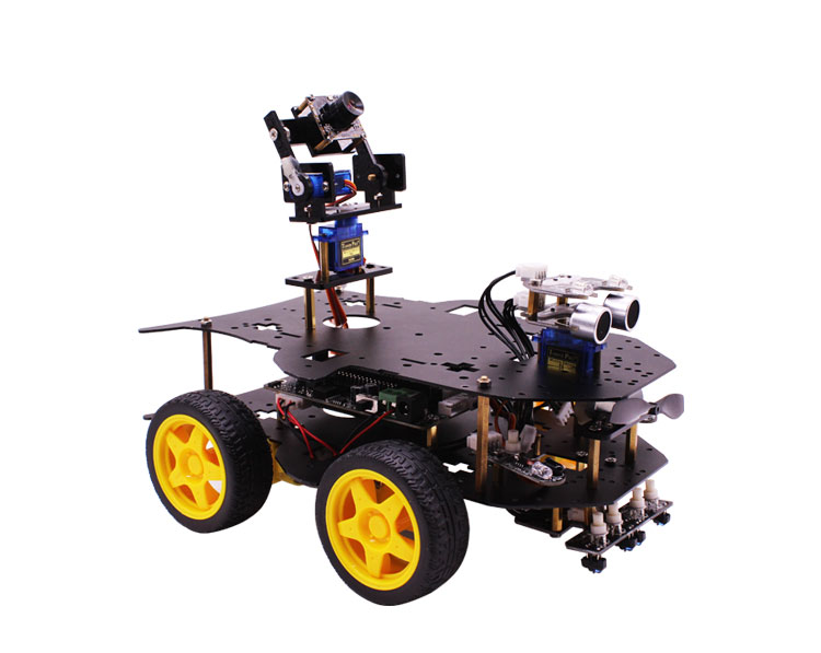 2018 Wireless WIFI video 4WD robot car kit with HD camera for Raspberry PI 3B+ RC programmable robot remote control monitoring