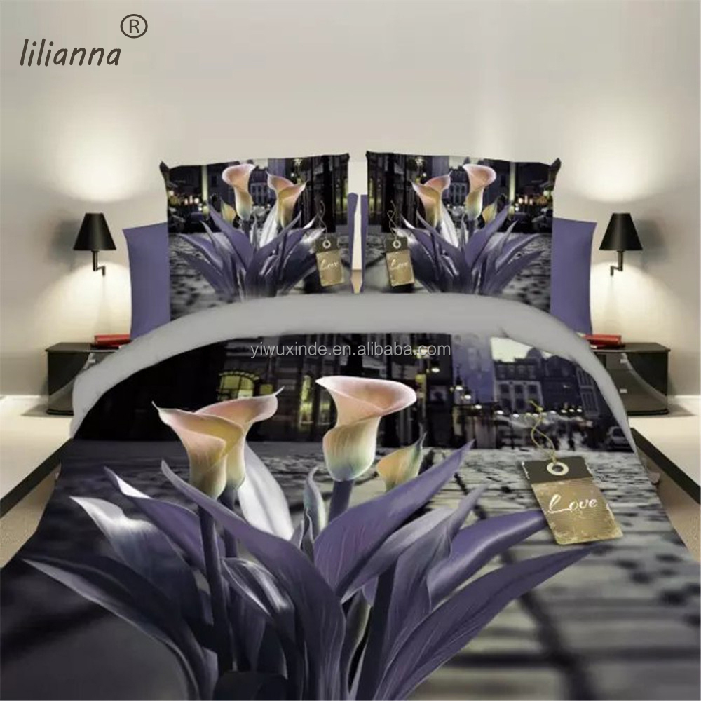 2016 LILIANNA light purple Calla Lily 3d bedding sets hot sale bedding sets