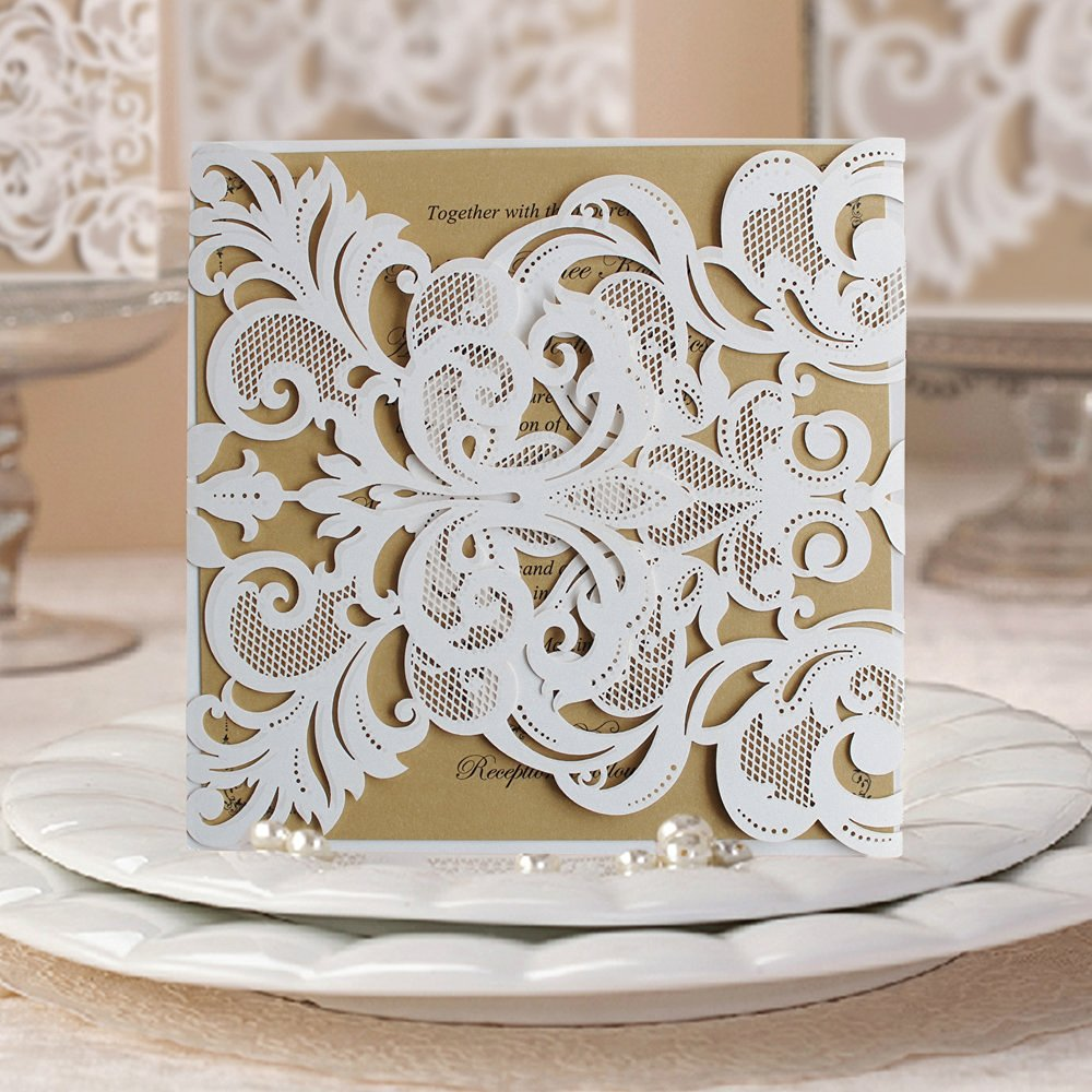 Buy 50 Elegant White Lace Wedding Invitation Cards; White Bridal ...