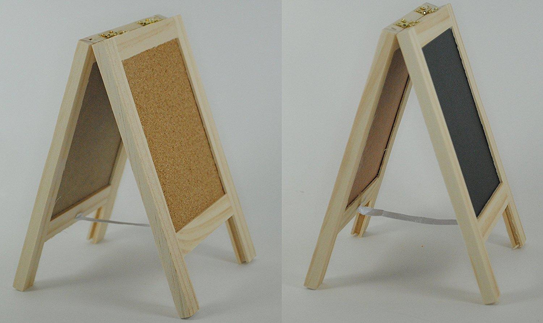 Dual Standing Chalkboard Sign And Cork Bulletin Board 4u201d Tabletop Mini  Freestanding Wooden Easel Blackboard