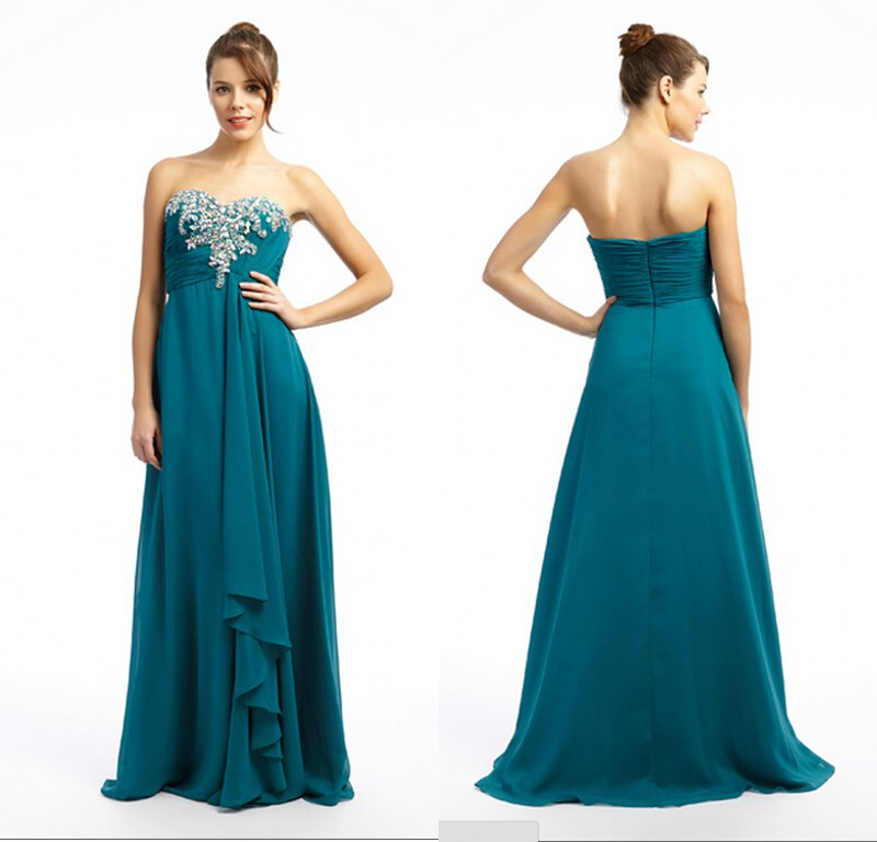 2015 Simple Cheap Prom Dresses Long Teal Chiffon Party Evening Dress Sweetheart Beading Bodice