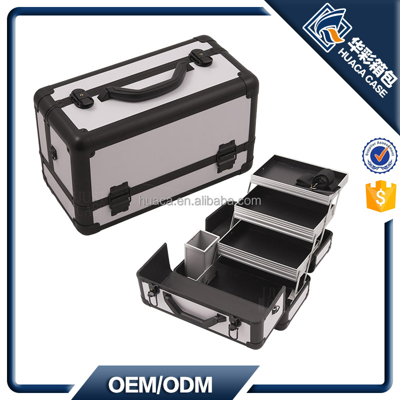 Smooth Pattern 3-tiers Extendable Trays Beauty Case HHZI-018