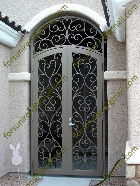 Exterior Eyebrow Wrought Iron Double Door Without Glass