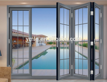 China Supplier Safety Design Interior Aluminum Frame Glass Bifold Door