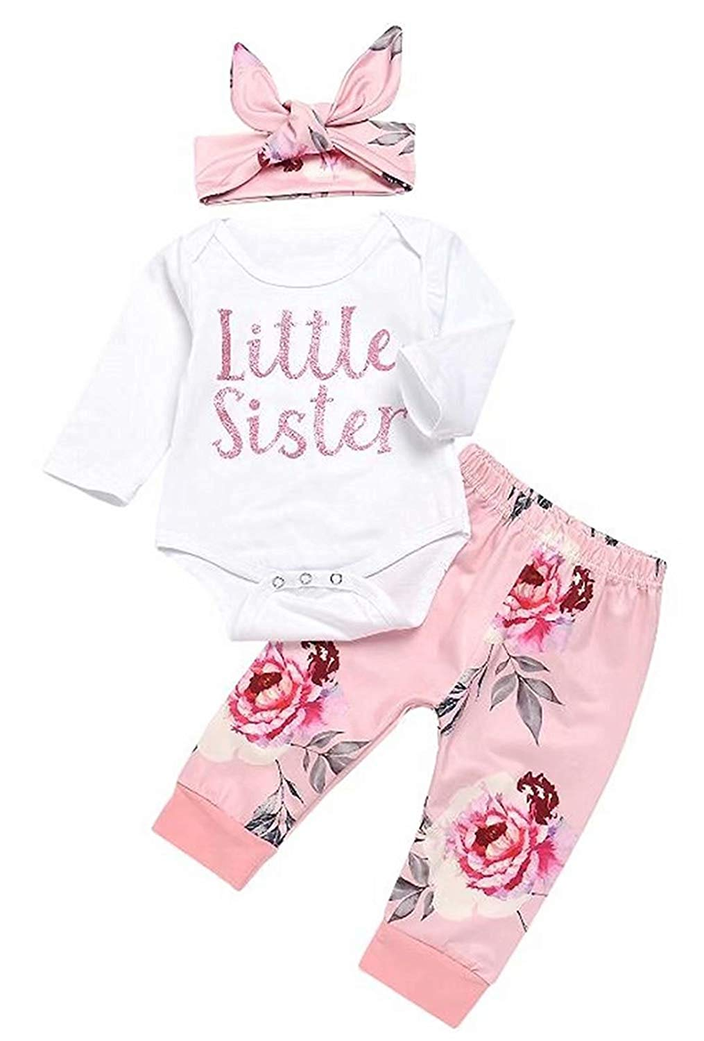 1e471103d Newborn Baby Girls 3Pcs Outfits Set Little Sister Bodysuit Romper Tops  Floral Print Pants with Headband