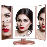 Three Ways Foldable 1X 2X 3X Magnifier Led Light Vanity Table Makeup Mirror For Beauty Women