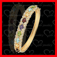 14 karat gold plated sterling silver bangle bracelet with coloful CZ stone