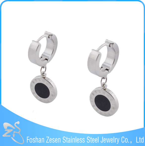 Stainless steel hoop earring, hoop dangle artificial diamond earrings
