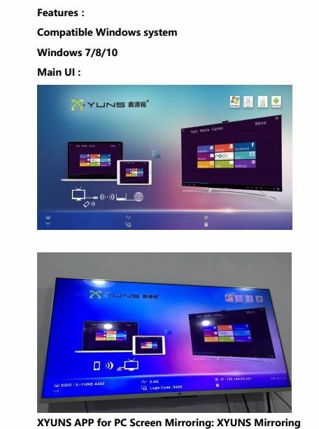 PTV6 XYUNS Mirroring for computer laptop iPad Mac Win7/8/10 wireless
