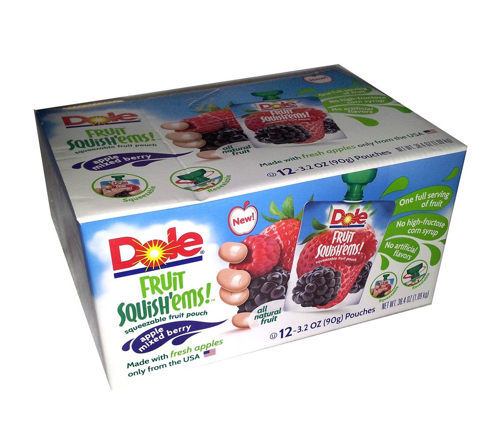 Dole Fruit Squish'ems Squeezable Apple Mixed Berry Fruit Pouch 12