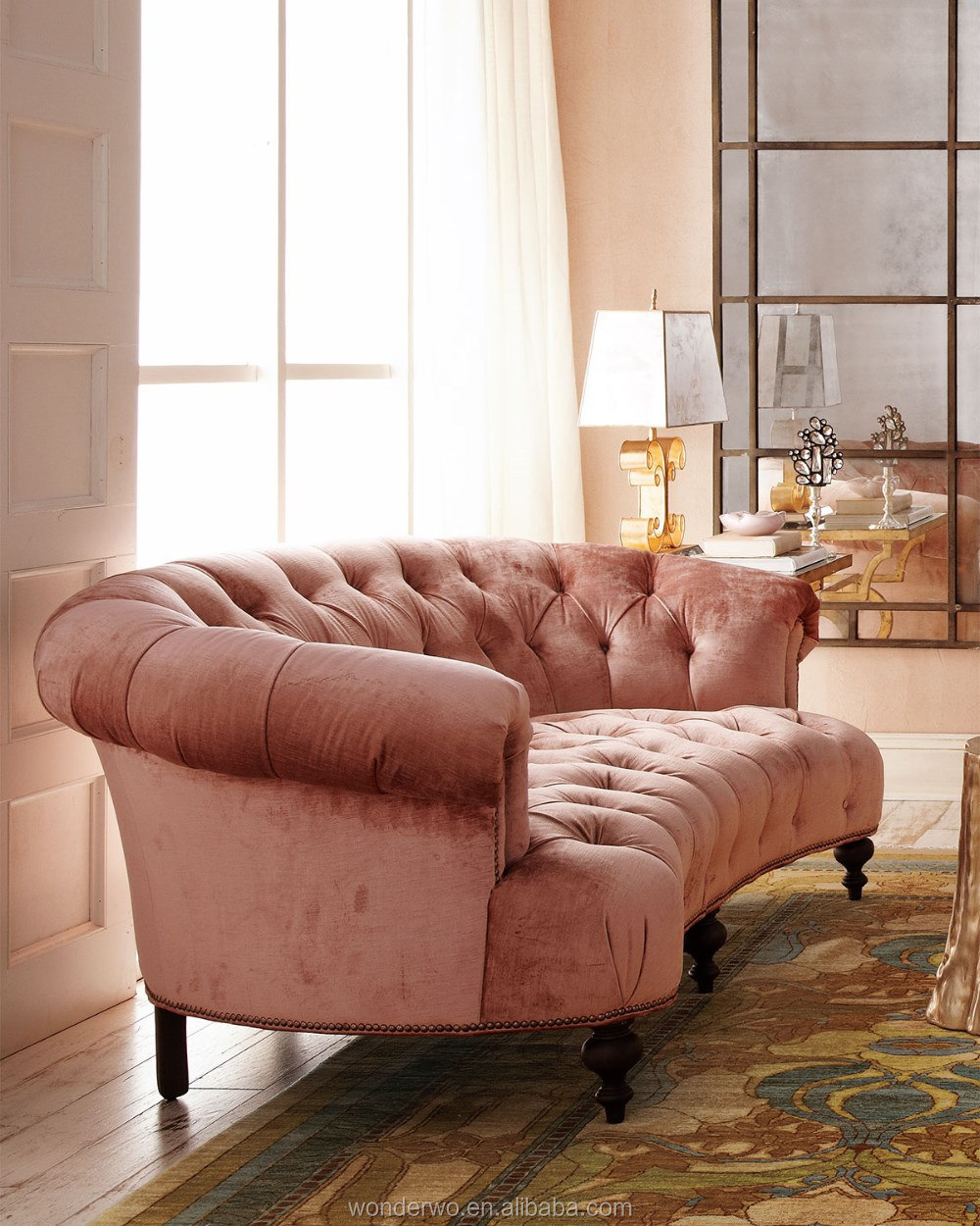 Clic Hollywood Style Blush Velvet Tufted Sofa Curves Cozy Couch Living Room Furniture