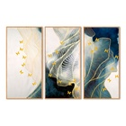 Abstract Golden Lines 3 Panels Custom Canvas Prints Modern Wall Art