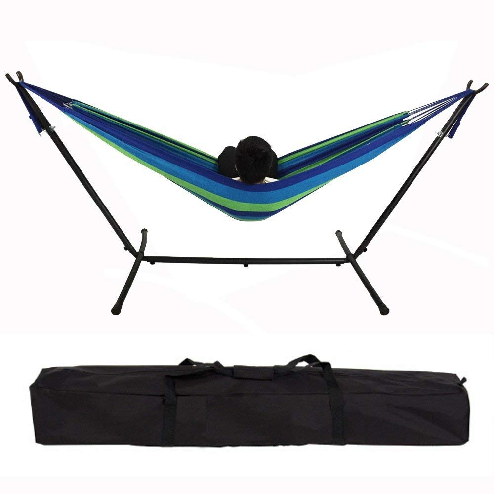 Double Camping Hammock - Lightweight Nylon Portable Hammock, Best Parachute Double Hammock Camping Double Hammock Chair Bed with Stand and Storage Bag For Backpacking, Camping, Travel, Beach,Yard