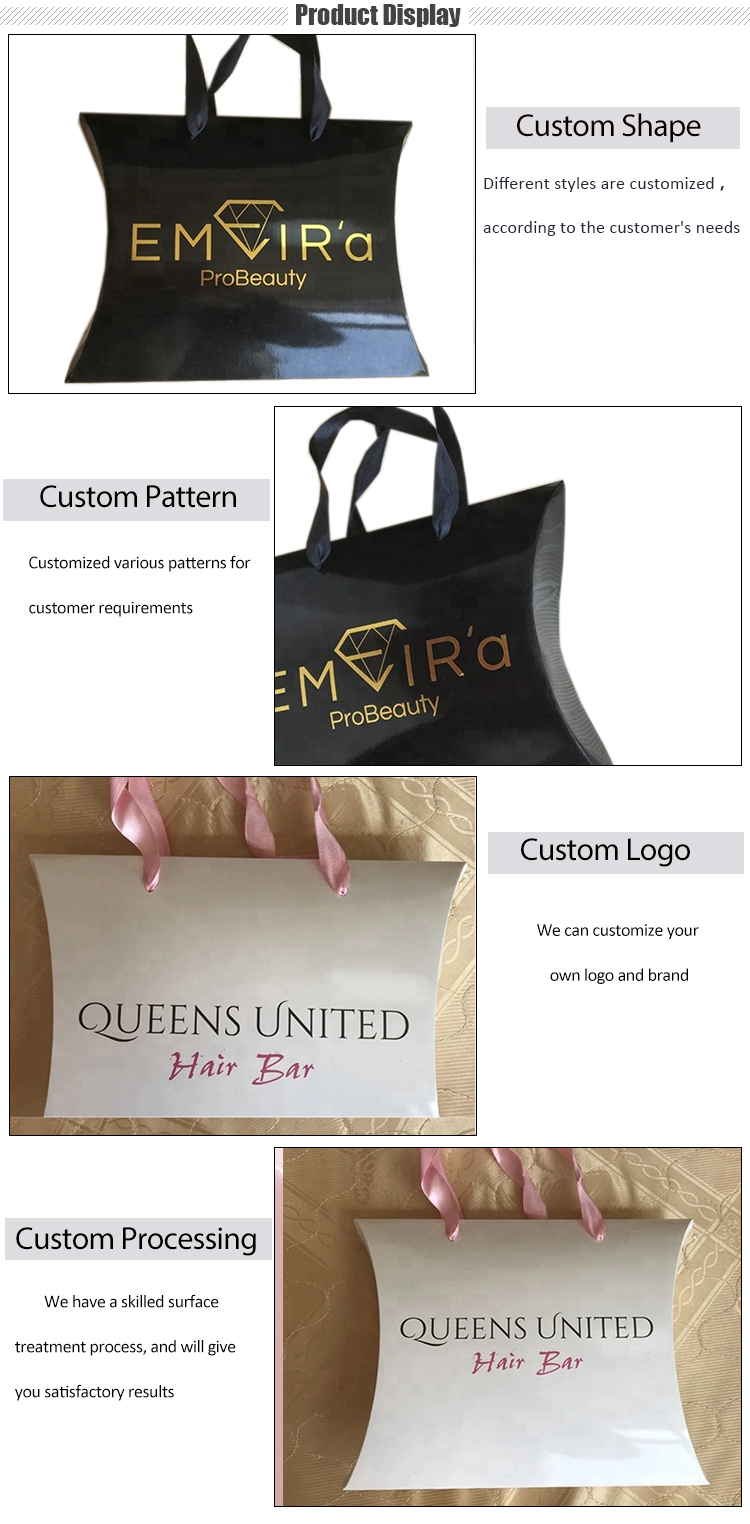 Custom Hair Extension Packaging Bags Scarves Paper Bags with Hanger