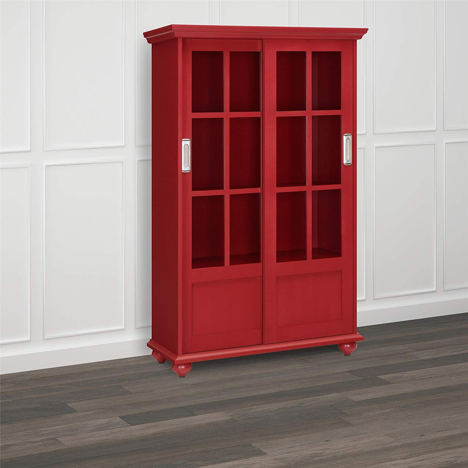 Get Quotations Katreen Abbeywood Red Window Pane Doors Wood Bookcase With Sliding Gl