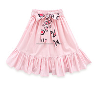 2018 new style girls pink skirt ruffle design with bow lovely kids skirt