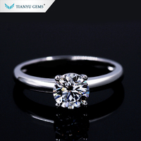 Moissanite shop jewelry custom Four claw moissanite stone 18k white gold shining ring for wedding rings