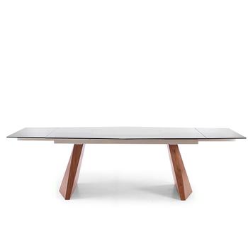 Black Transparent Tempered Glass Top Walnut Legs Folded Table
