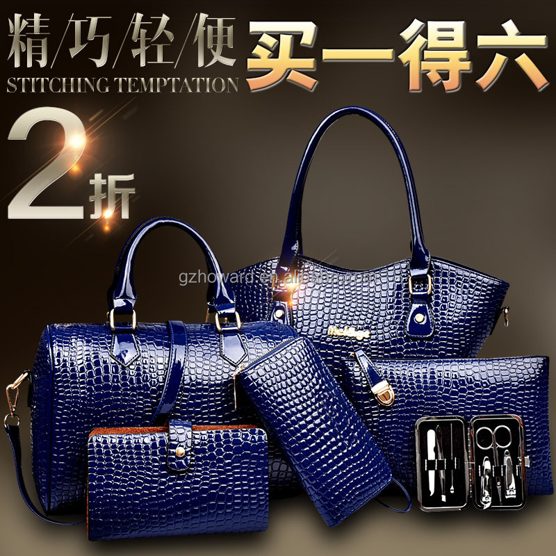 Good pattern PU leather lady handbags 6 in one bag set hot selling bags