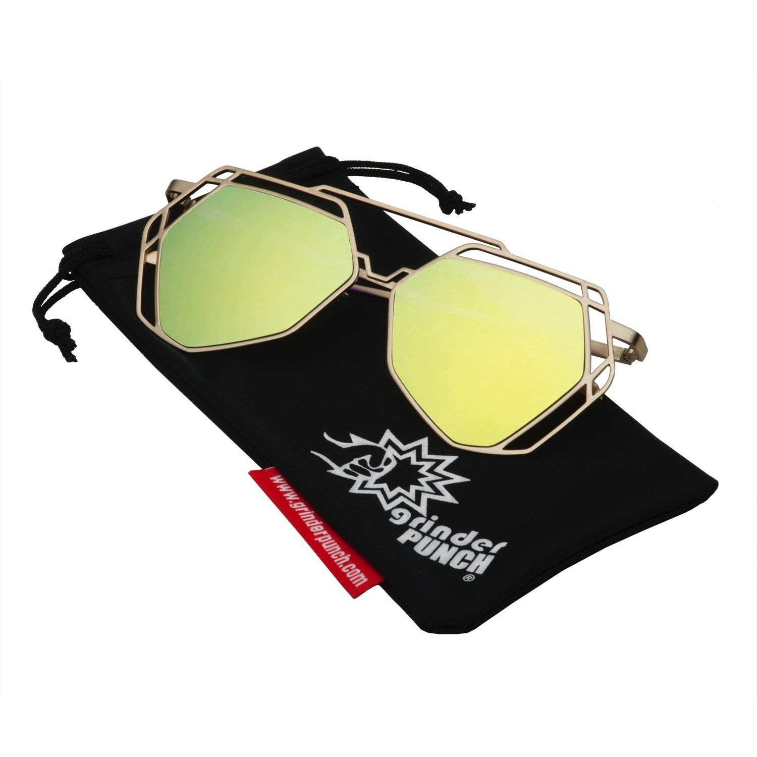 14c52b4e5c1 Get Quotations · grinderPUNCH Women s Mirrored Heptagon Flat Lens Sunglasses