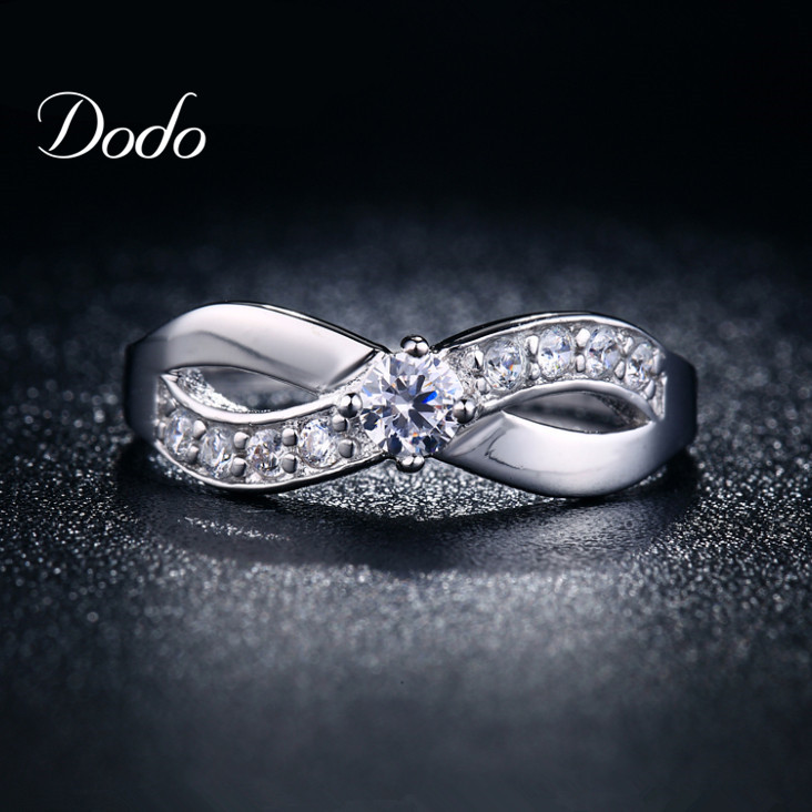 Fashion Infinity rings White Gold Plated jewelry for women CZ diamond wedding engagement bijoux Fashion Accessories