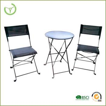 balcony table chairs 3pc folding metal bistro table chair set buy