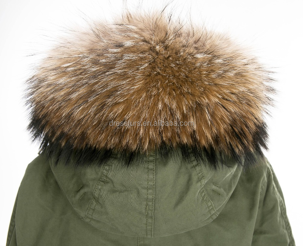 Wholesale women overcoat faux fur lining with raccoon fur hooded from china overcoat manufacturer