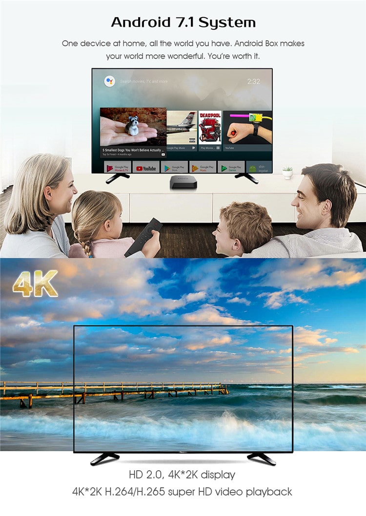 2018 Latest set top box amlogic s905w Quad Core 4K android 7.1 H.265 MXQ U2 1+8G/ 2+16G set top box