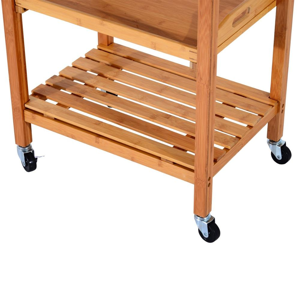 large wooden kitchen trolley