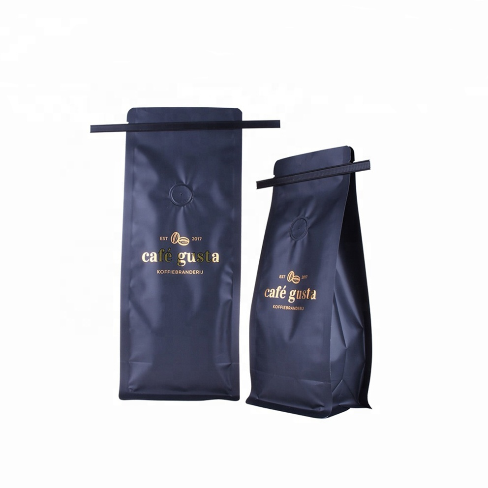 カスタムプリントマット仕上げフラットボトム一方向バルブコーヒー包装袋ブリキネクタイ
