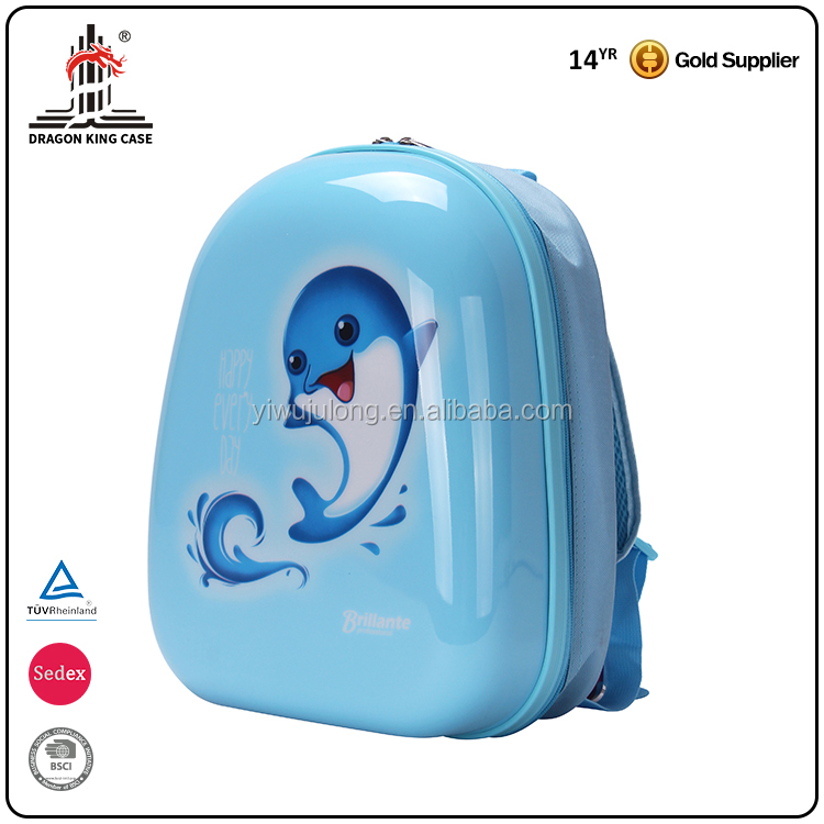 Cute Little Dolphin Design Good Quality Cartoon Kids Trolley Hard Case Luggage