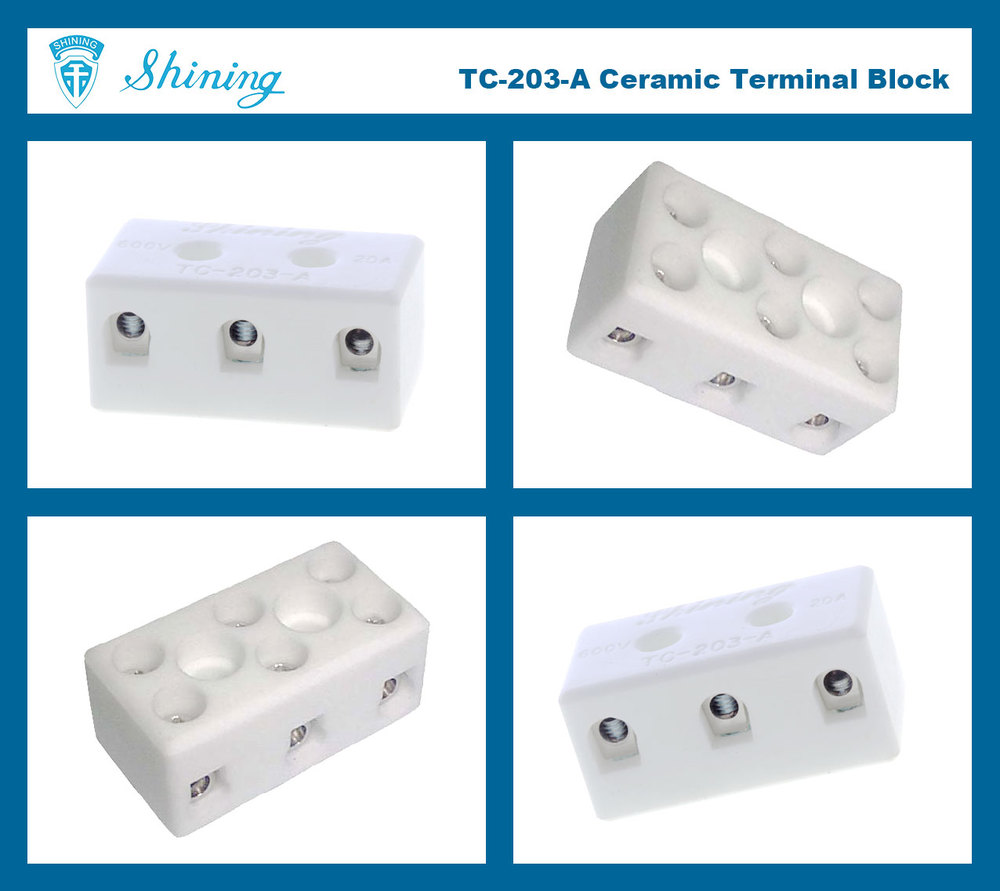TC-203-A High Temperature 20A 3-Pin Ceramic Connector Block