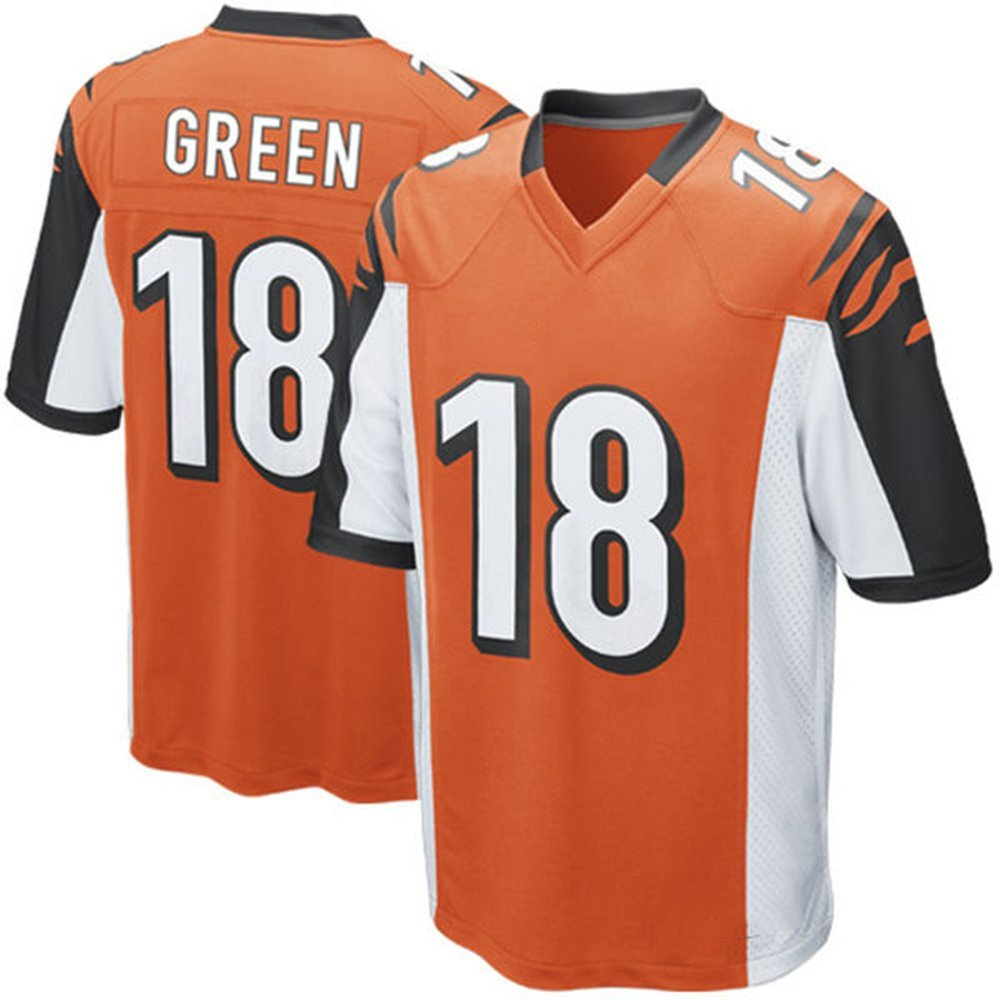 Get Quotations · Mens Football Jersey AJ GREEN  18 Orange Adult  Short-sleeve Training Practice Football Jersey 13374fe3b