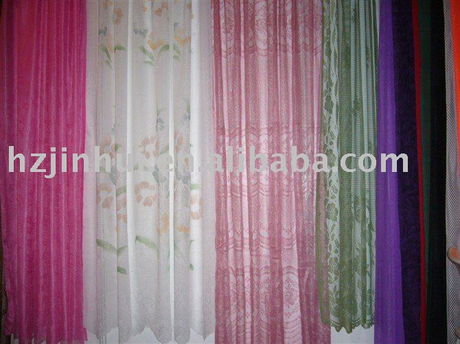 polyester embroidery lace curtain fabric ,Lacy Curtain