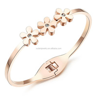 Fashion Flower Daisy Rose Gold Color Stainless Steel Crystal Rhinestone Bracelets Bangles Jewelry For Women Lady