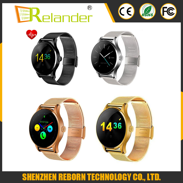 Original K88H MTK2502 heart rate monitor/Bluetooth Smart watch with Steel leather belt